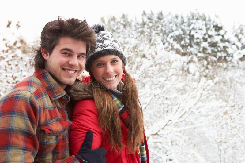 Unga par i snow royaltyfria foton