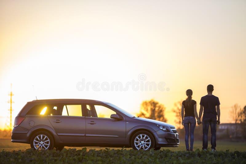 Unga par, slank attraktiv kvinna med den långa hästsvansen och stiligt mananseende på silverbilen i grönt fält på klar himmel på royaltyfri foto