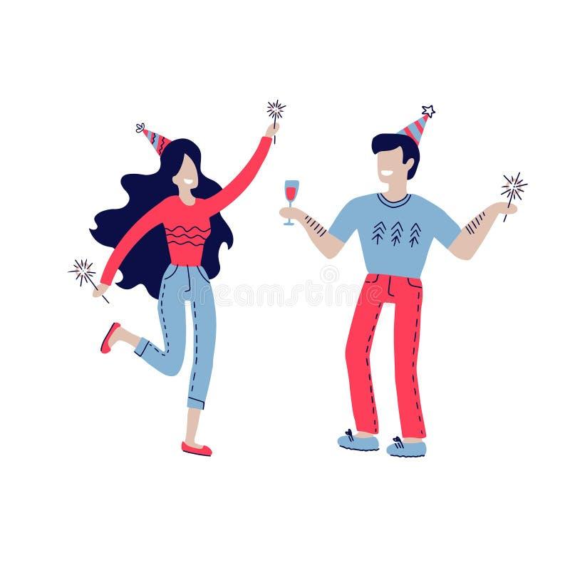 Unga par som firar avatarstecken Grupp av lyckligt glat folk som firar ferie, h?ndelse Man kvinnatecken in royaltyfri illustrationer