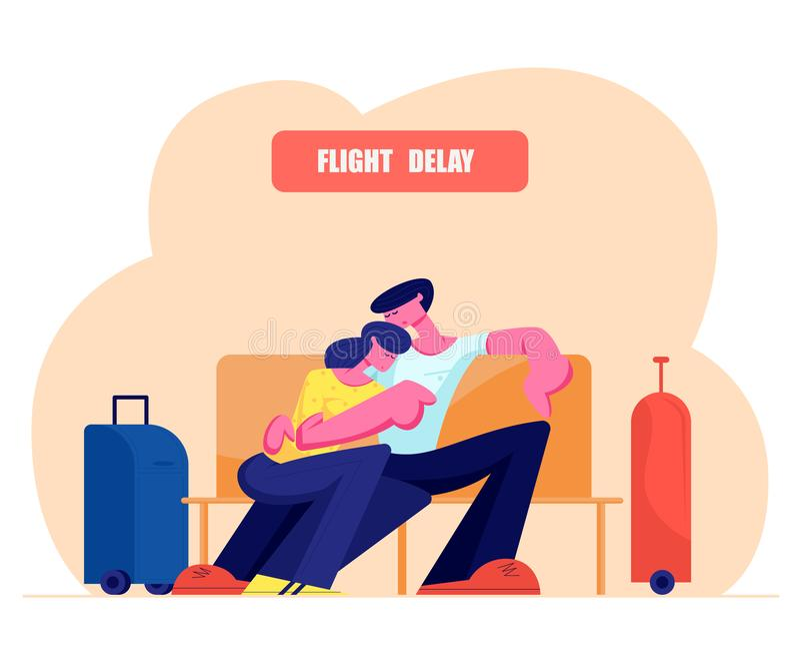 Unga par som sover att krama på bänk med bagage, står närliggande i väntande område för flygplatsen, flygfördröjningen som väntar royaltyfri illustrationer