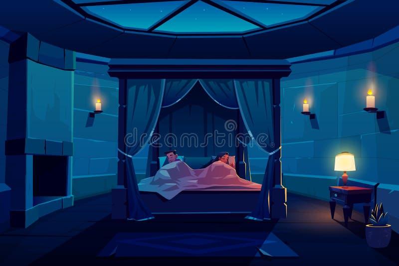 Unga par som sover i säng med markisen i slott vektor illustrationer