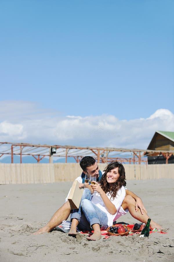Unga par som tycker om picknicken på stranden royaltyfri fotografi