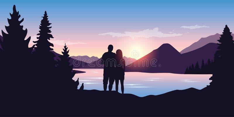 Unga par vid floden i skognaturlandskap på soluppgång vektor illustrationer