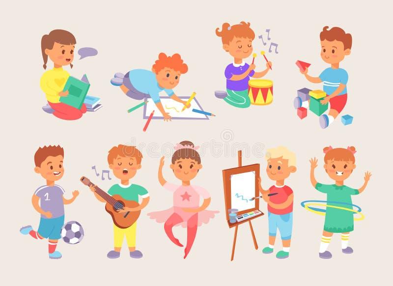 Unga pojkar och flickor för vektorbarnungar skolar, och sportaktivitet som spelar typer av, parkerar och hemmamatcher Lilla ungar royaltyfri illustrationer