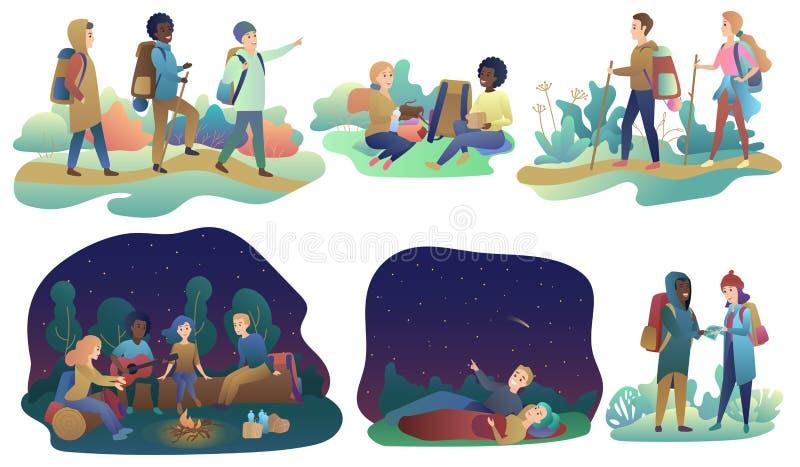 Unga romantiska par och grupp av vänner som fotvandrar affärsföretaglopp eller campa tur Man och kvinnligt gå och att vila vektor illustrationer