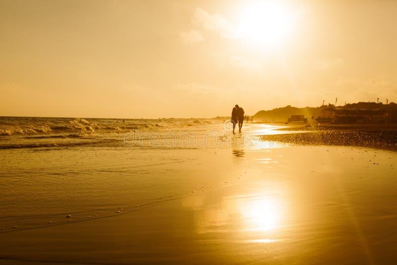 Unga romantiska par på kustlinjen royaltyfri foto