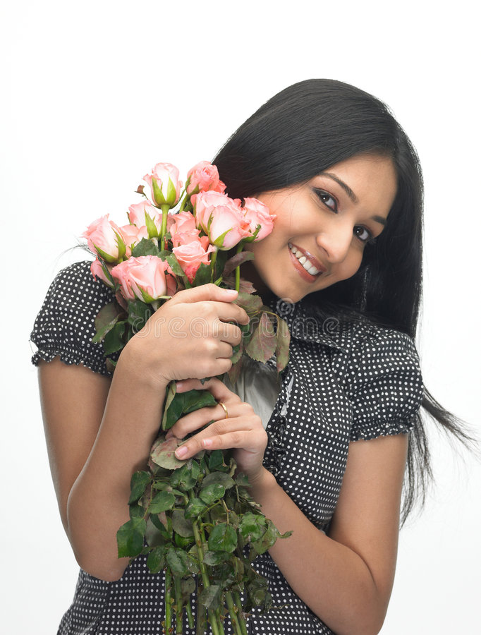 unga rosa ro för flicka royaltyfria foton