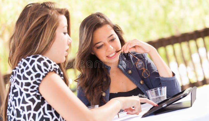 Unga tonåriga flickvänner för blandat lopp som använder deras datorelektron royaltyfri fotografi