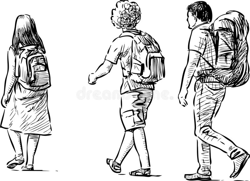 unga turister royaltyfri illustrationer