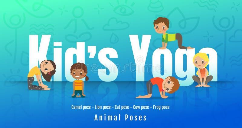 Unga ungar i olik yoga poserar, barn som gör yoga med djur ställing tecknad filmcommandertryckspruta hans illustrationsoldatstopw vektor illustrationer