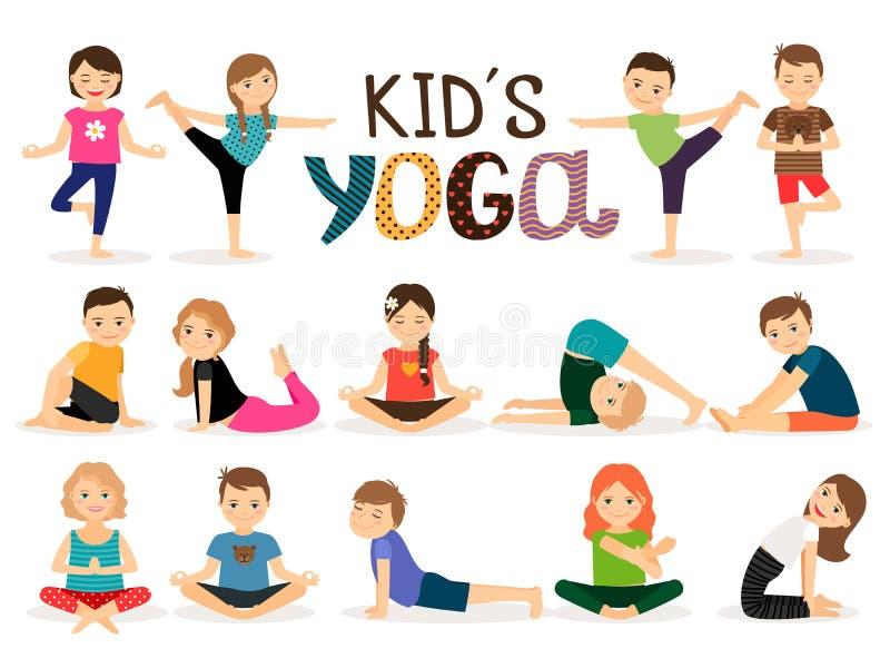Unga ungar i yoga poserar stock illustrationer