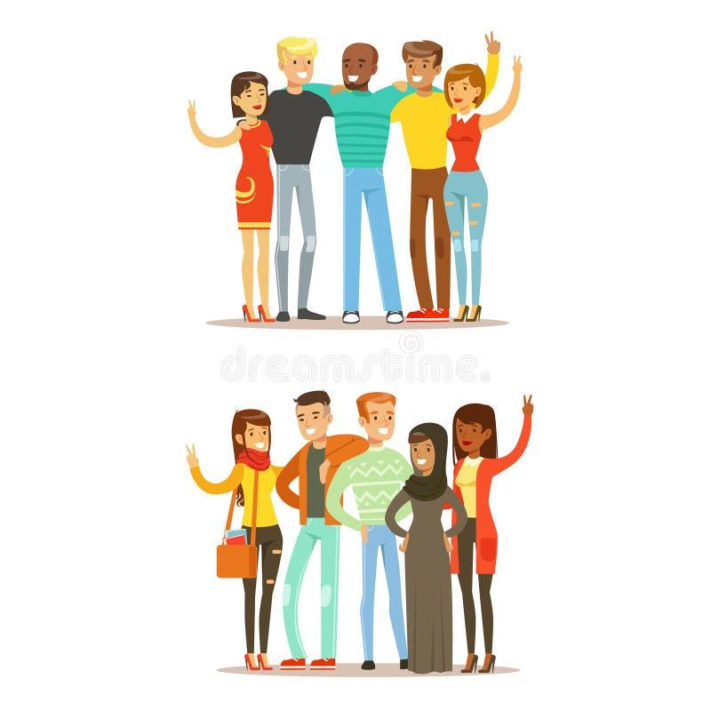 Unga vänner från lite varstans världen och den lyckliga internationella illustrationen för kamratskapvektortecknad film royaltyfri illustrationer