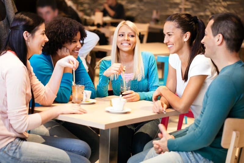 Unga vänner i kafé royaltyfri fotografi