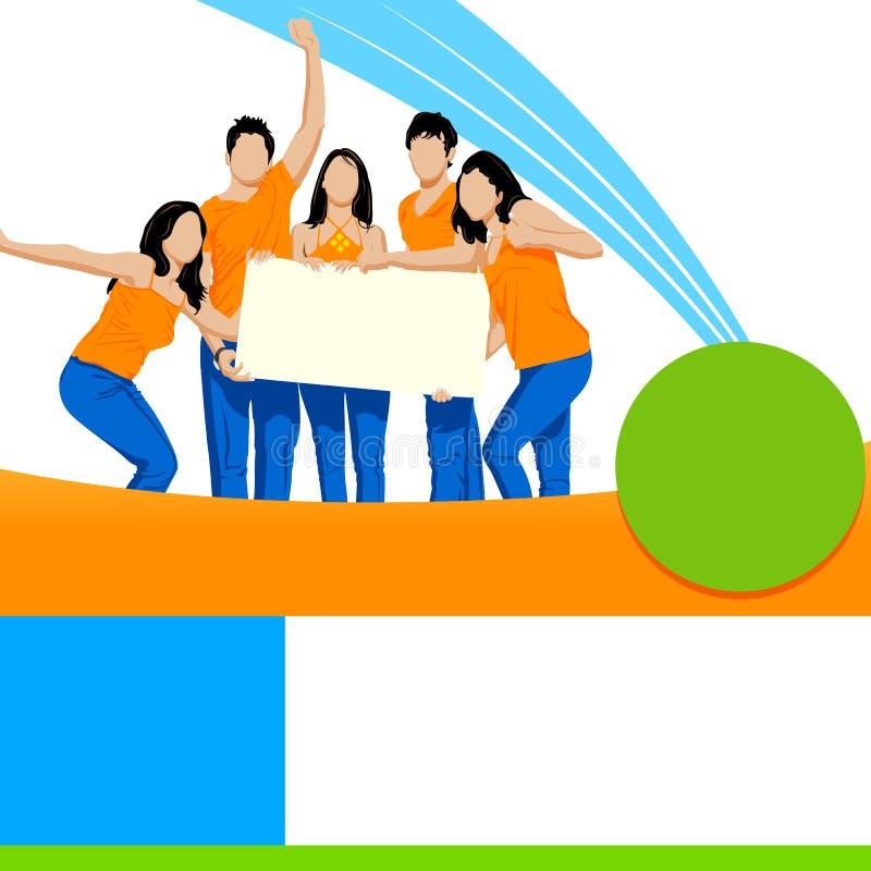Unga vänner som rymmer det tomma plakatet vektor illustrationer