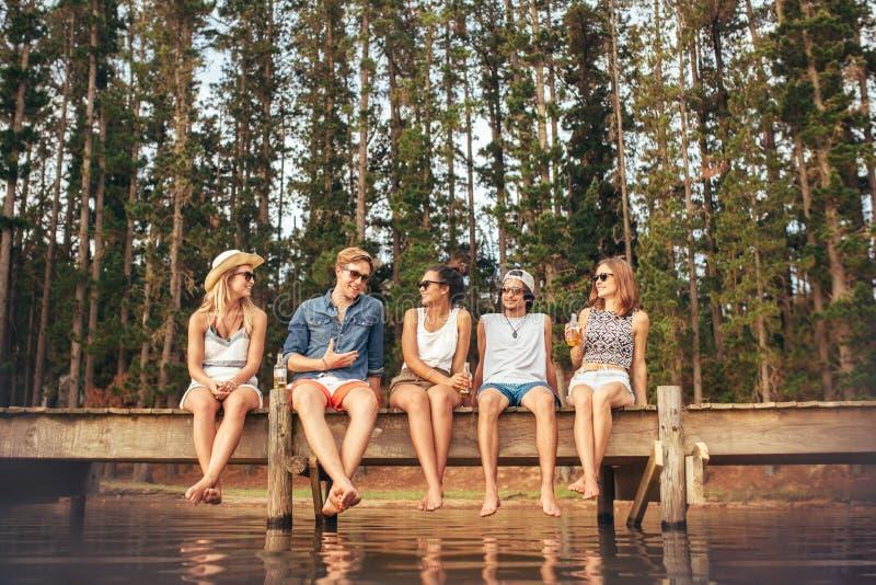 Unga vänner som tycker om en dag på sjön royaltyfri fotografi