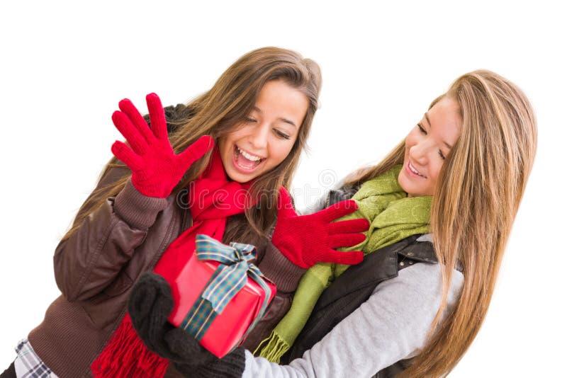 Unga vuxna kvinnlig för blandat lopp som rymmer en julgåva isolerad royaltyfria bilder