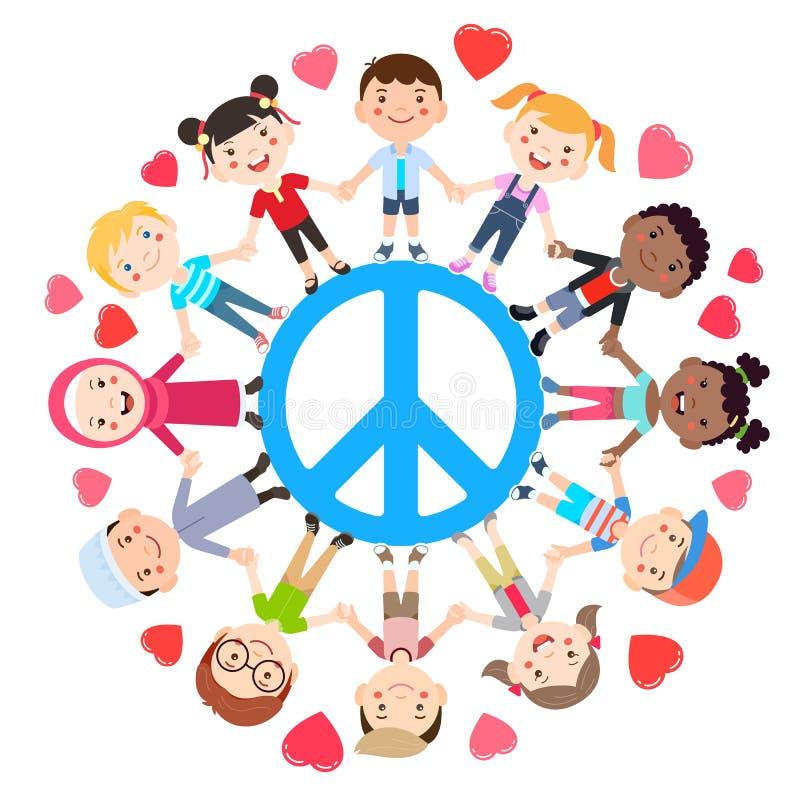 Ungar älskar begreppsmässig fred Grupper av barn sammanfogar händer lite varstans fredsymbolet vektor royaltyfri illustrationer