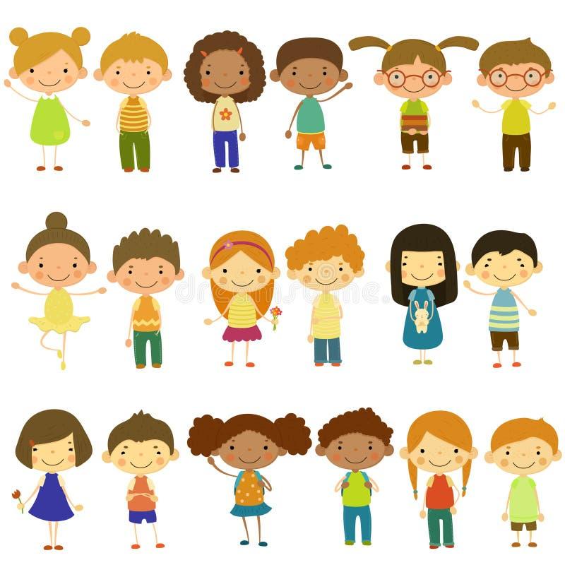 Ungar av olika nationaliteter och livsstilar royaltyfri illustrationer