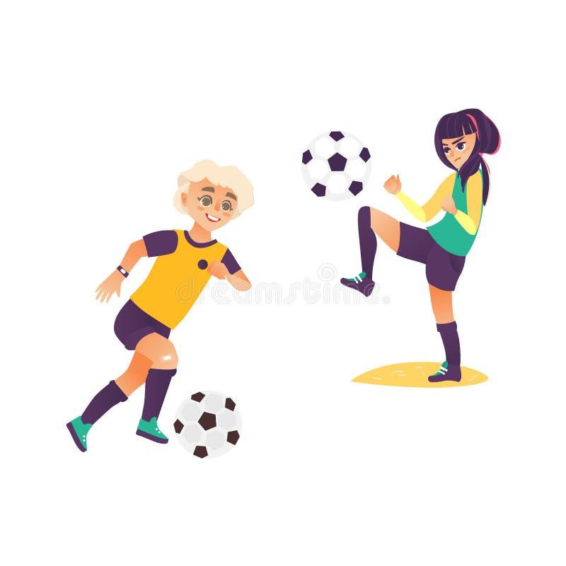 Ungar barn, pojke och flicka som spelar fotboll vektor illustrationer