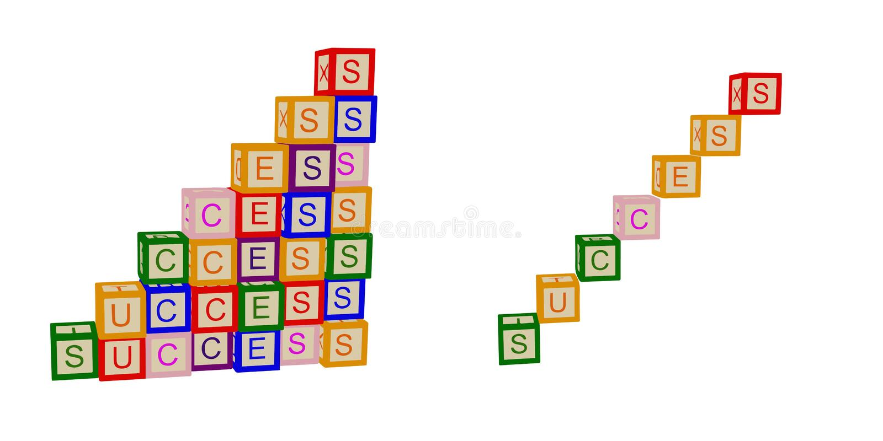 Ungar färgar kuber med bokstäver framgång För affär och liv Trappa vektor stock illustrationer