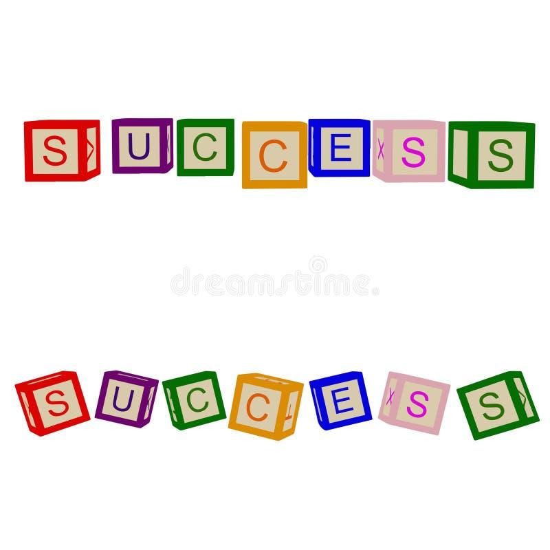Ungar färgar kuber med bokstäver framgång För affär och liv vektor royaltyfri illustrationer