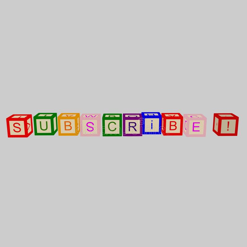 Ungar färgar kuber med bokstäver Prenumerera ordet vektor vektor illustrationer