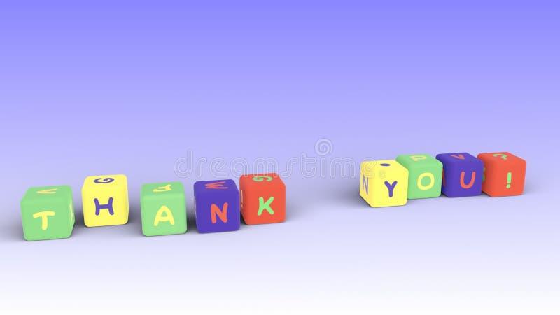 Ungar färgar kuber med bokstäver Tacka dig! Rastor stock illustrationer