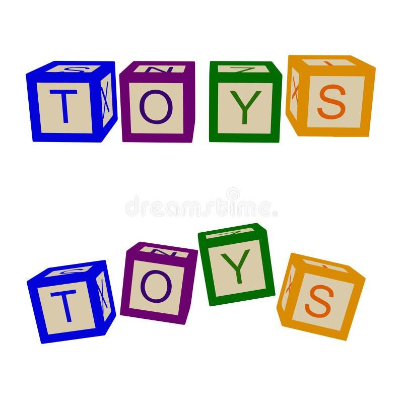 Ungar färgar kuber med bokstäver toys För shoppar vektor royaltyfri illustrationer