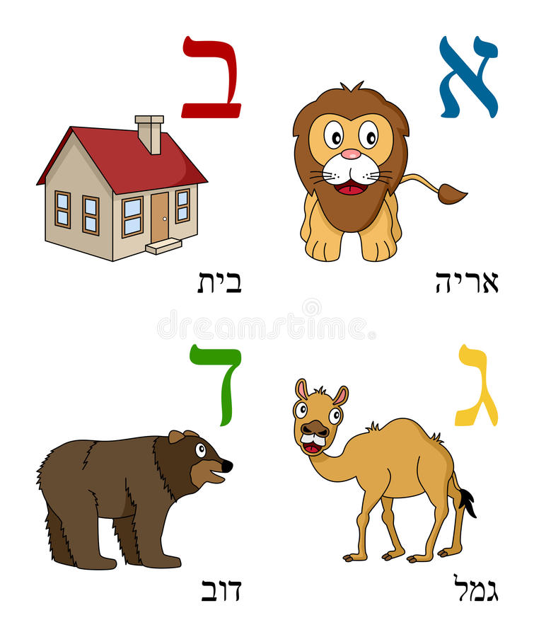 ungar för 1 alfabethebré vektor illustrationer