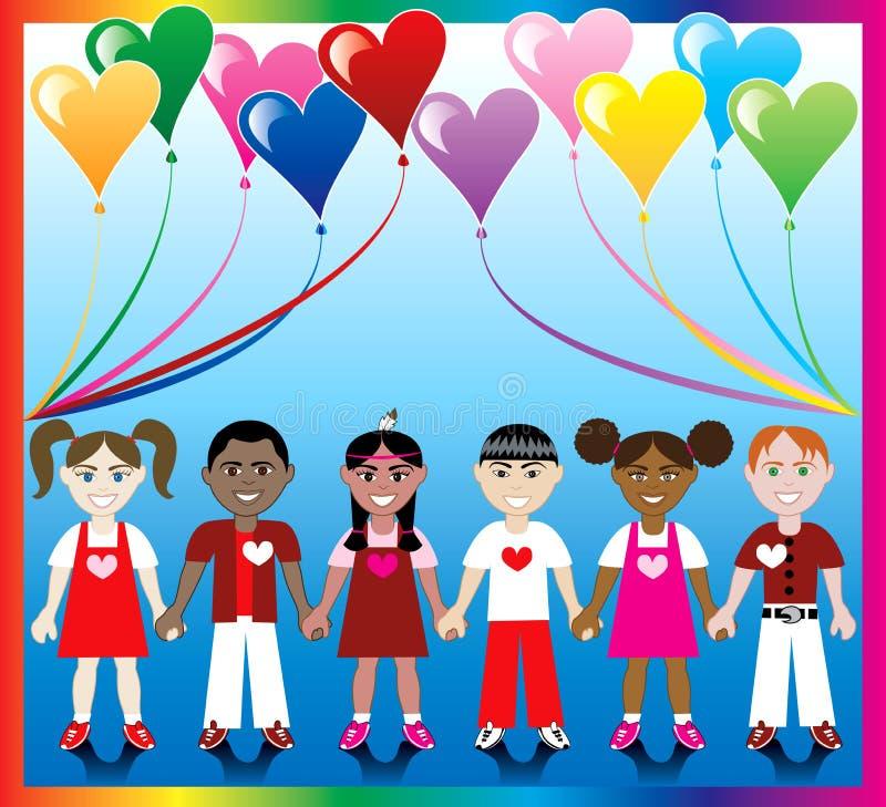 ungar för 1 ballonghjärta vektor illustrationer