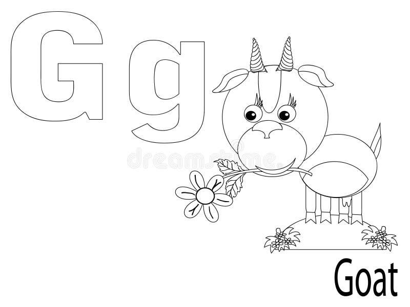 ungar för alfabetfärgläggningG royaltyfri illustrationer