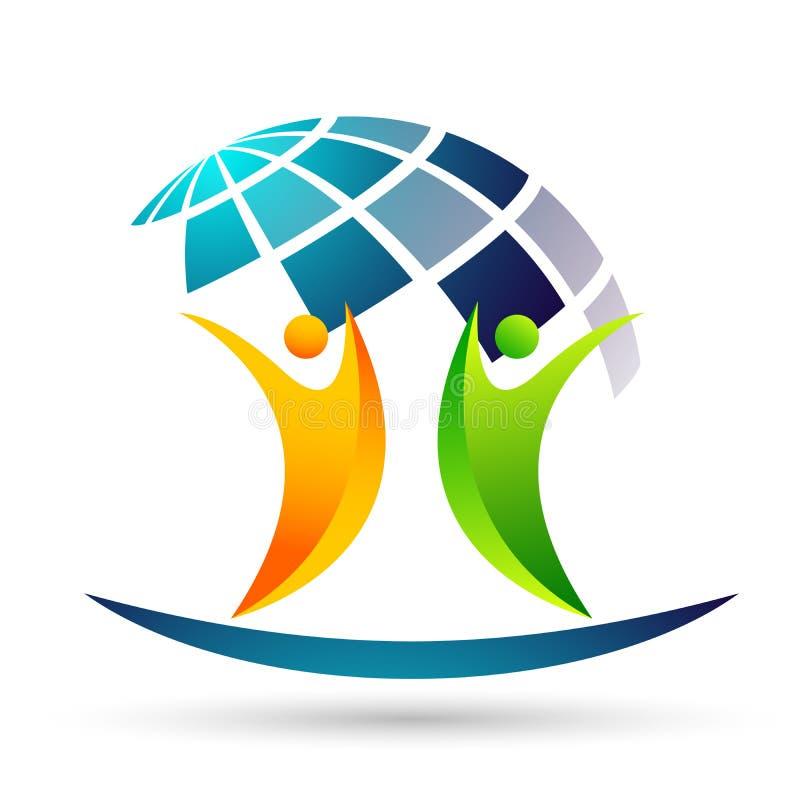 Ungar för jordkloträddningvärld att bry sig ta omsorgfolk för att spara för att skydda vektorn för beståndsdelen för symbolen för royaltyfri illustrationer