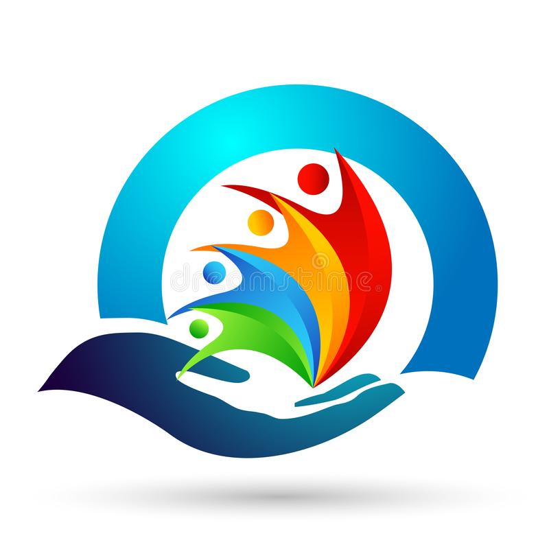 Ungar för jordkloträddningvärld att bry sig ta omsorgfolk för att spara för att skydda vektorn för beståndsdelen för symbolen för vektor illustrationer