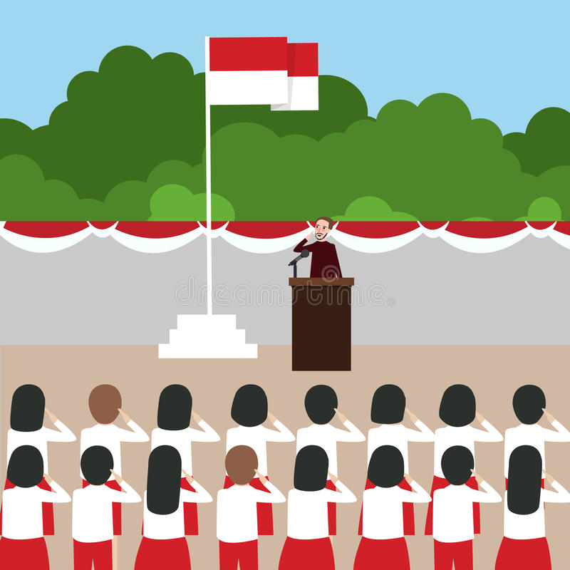 Ungar för skola för Indonesien flaggaceremoni under nationell oberoende dag vektor illustrationer
