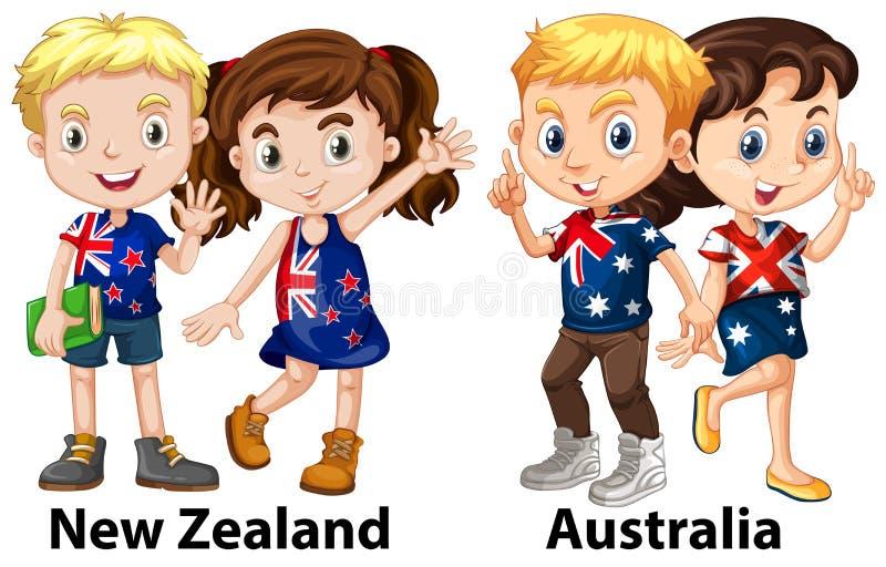 Ungar från Nya Zeeland och Australien royaltyfri illustrationer