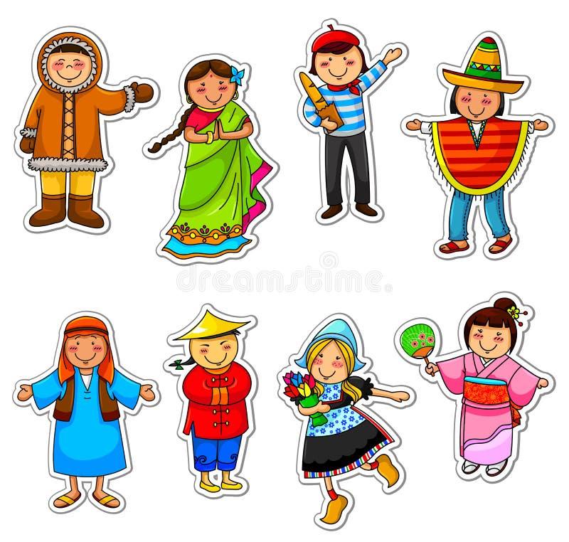 Ungar från runt om världen vektor illustrationer