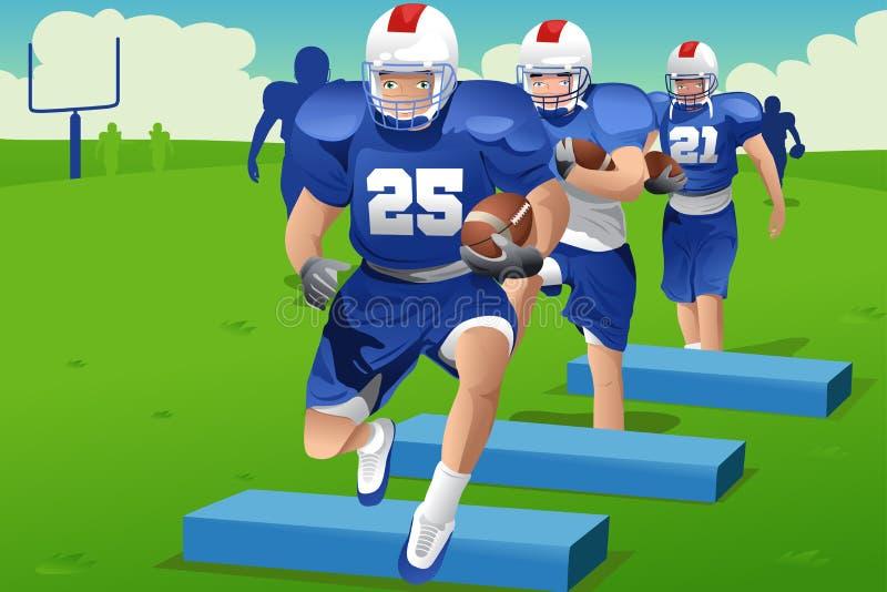 Ungar i övning för amerikansk fotboll stock illustrationer
