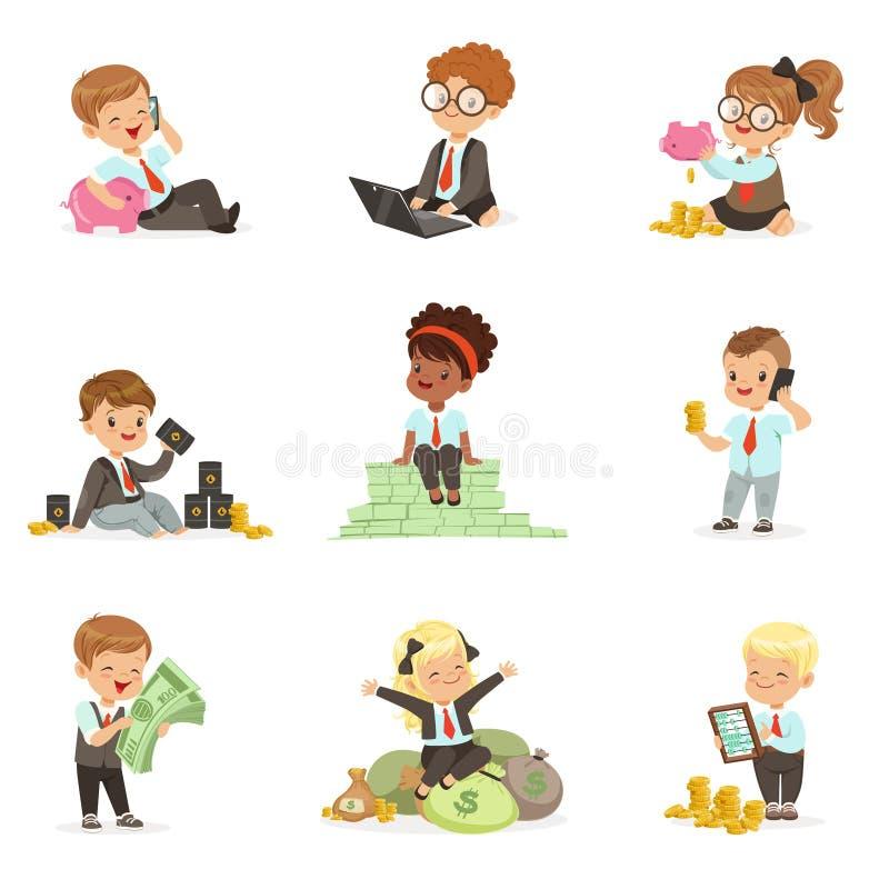 Ungar i den finansiella affärsuppsättningen av gulliga pojkar och flickor som arbetar som affärsmanDealing With Big pengar stock illustrationer
