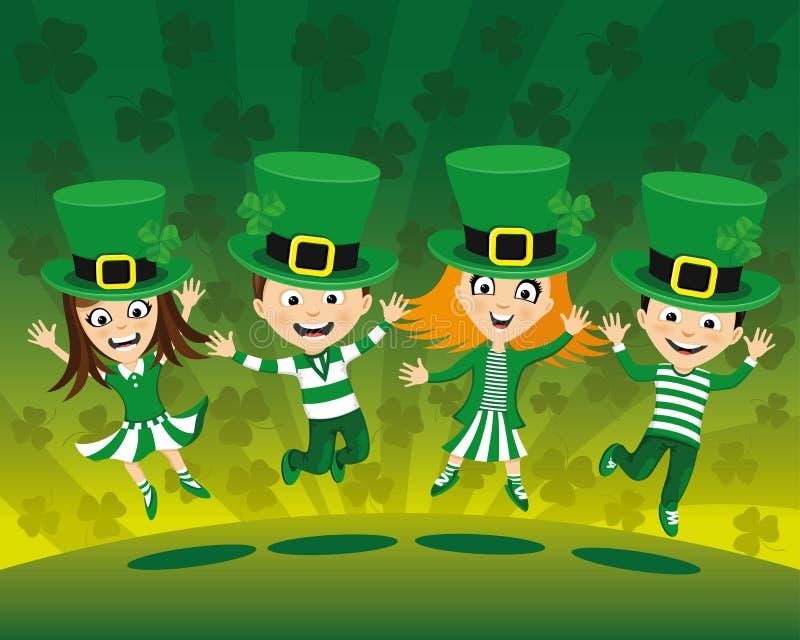 Ungar i dräkter för Sts Patrick dag vektor illustrationer