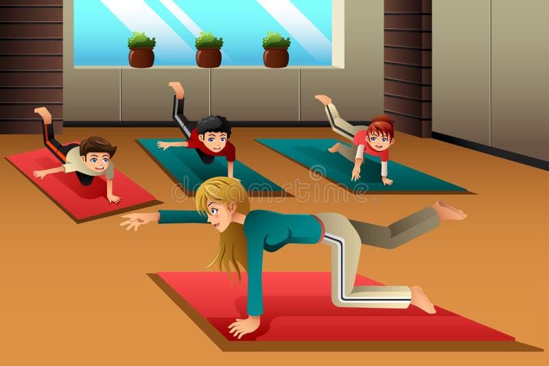 Ungar i en yogagrupp royaltyfri illustrationer
