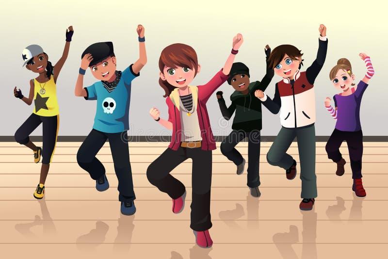 Ungar i grupp för höftflygturdans stock illustrationer