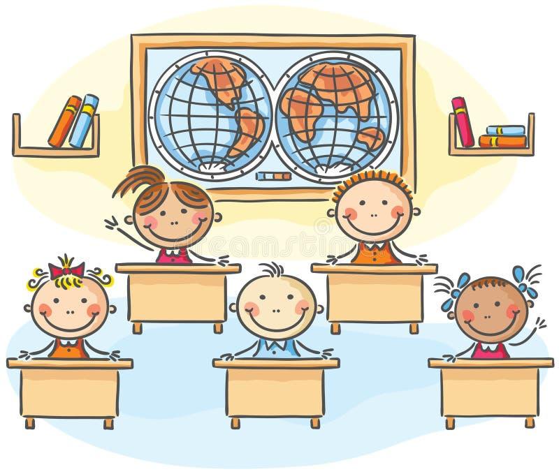 Ungar i klassrumet stock illustrationer