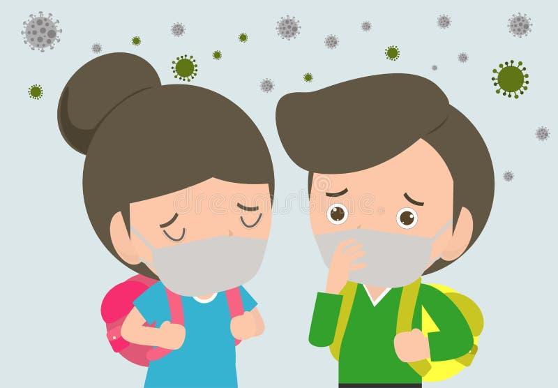 Ungar i maskeringar på grund av fint damm e.m. 2 bärande maskering för 5, för pojke och för flicka mot smog Fint damm, luftförore royaltyfri illustrationer