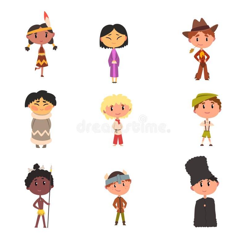 Ungar i nationella kläder-, pojke- och flickatecknad filmtecken i traditionell dräkt av indianen, japan royaltyfri illustrationer