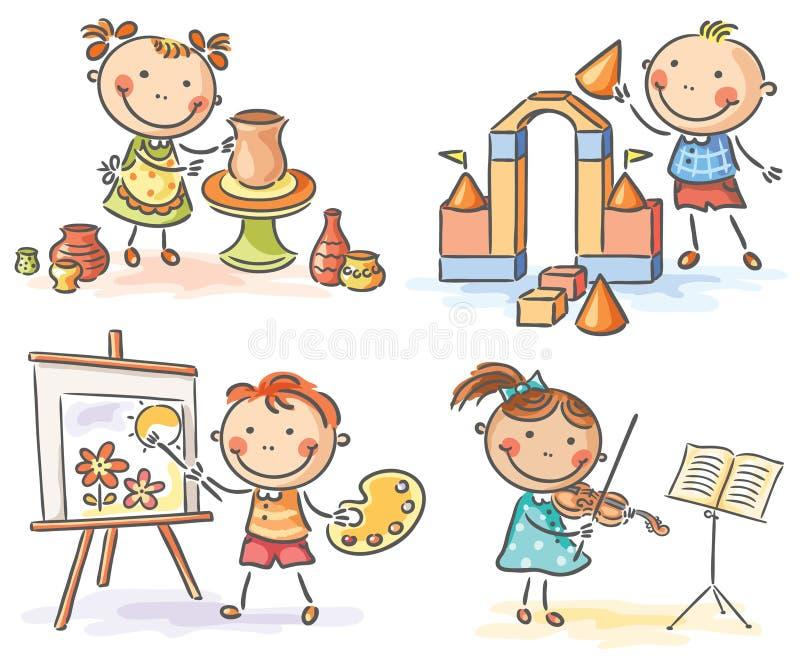 Ungar i olika idérika aktiviteter royaltyfri illustrationer