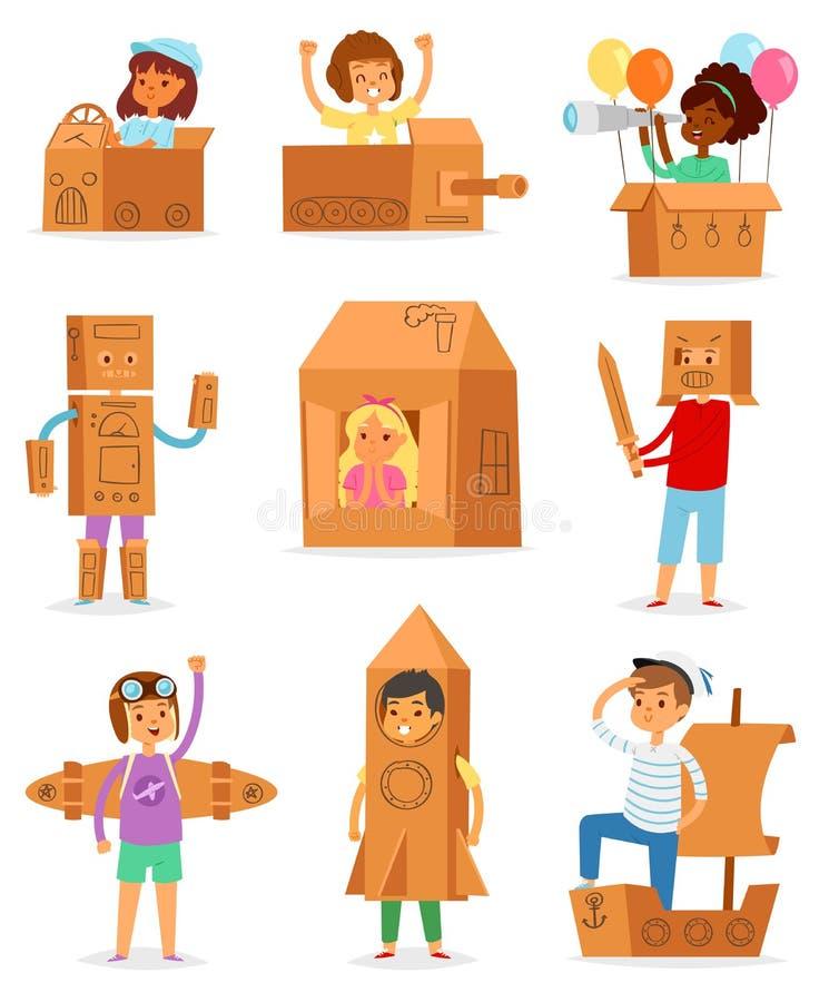 Ungar i teckenet för barn för askvektor som det idérika spelar i boxas hus och pojke eller flicka i lådanivå eller pappersskepp stock illustrationer
