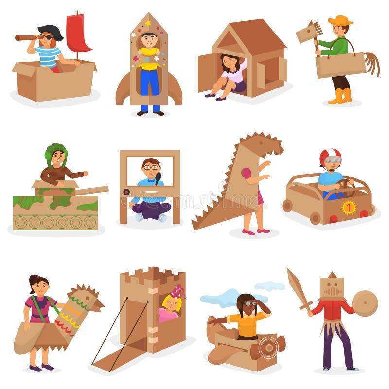 Ungar i teckenet för barn för askvektor som det idérika spelar i boxas hus och pojke eller flicka i lådanivå eller pappersskepp royaltyfri illustrationer