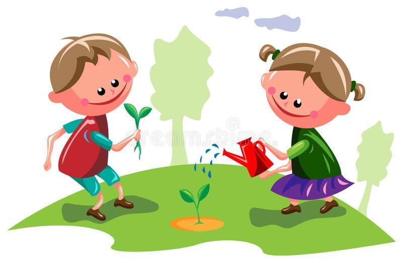 Ungar i trädgård royaltyfri illustrationer
