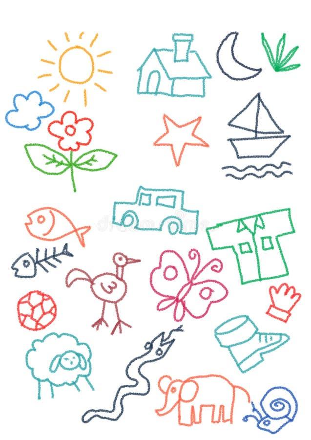 Ungar klottrar denfulla slumpmässiga samlingen för objektfärgpennasymbolen bil sol, hem, fjäril, orm stock illustrationer