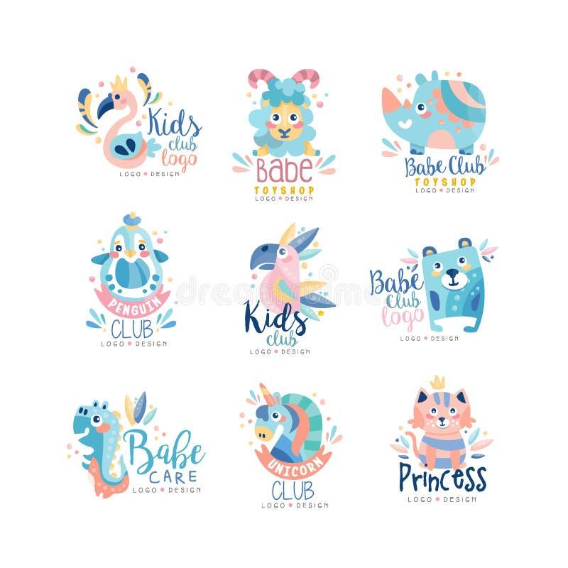 Ungar klubba och uppsättningen för design för babetoyshoplogo, emblem med gulliga djur och fåglar kan användas för behandla som e vektor illustrationer